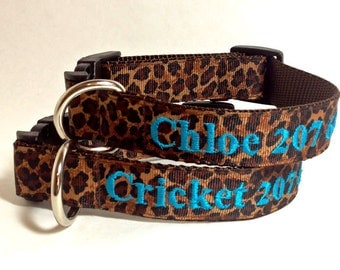 Cutest Leopard Print Dog Collar with personalized name / phone