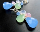Mixed Gem Weave Briolette Dangle Earrings