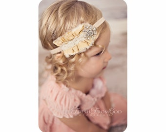 Rhinestone Baby Headband, Christmas Vintage Headband, Silk Headband, Newborn Headband, Baby Photo Prop, Couture Headband, NO.353
