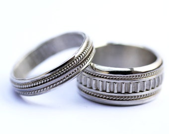 wedding bands his and hers sterling silverunique wedding bands matching wedding bands - Heart Wedding Ring Set