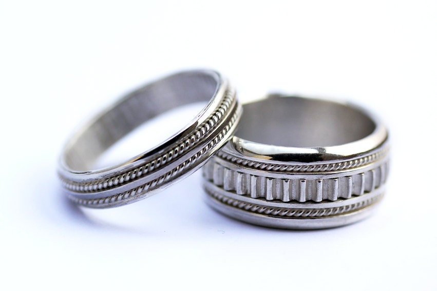 wedding bands his and hers sterling silverunique wedding