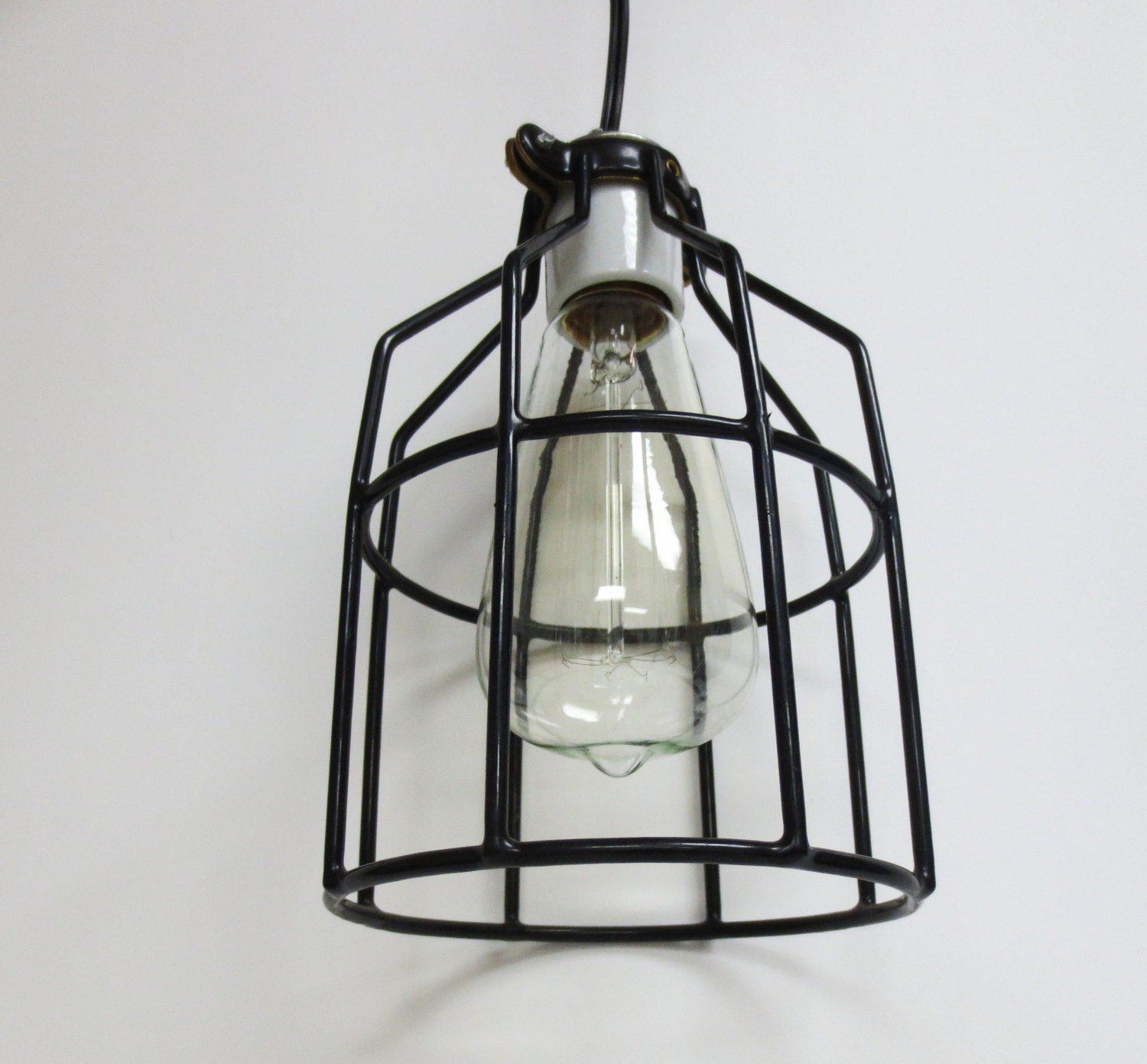 Hanging Light Fixture With Industrial Cage In Black Finish And