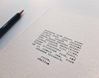 The Rock Paper Scissors Lizard Spock Postcard Print - BBT Inspired Art Print - Sheldon Cooper Quote Stationary