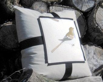 Decorative Pillow The Nightingale Artistic accent Bird illustration Drawing Square Cushion 25 x 25 Ornithology Unique art Beige Black White