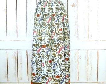 Vintage brown tribal batik maxi cotton skirt/high waisted batik festival Indian skirt/pleated boho maxi skirt