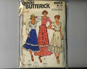 Size 12 Uncut Butterick 6085 Blouse & Skirt Semi-fitted Blouse Flared Skirt Women Misses 1970s 1980s  Vintage Sewing Pattern