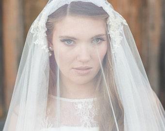 Bridal Veil, Cap Veil, Wedding Veil, Floor length Veil, Ivory Veil,  Vintage Style Bridal Veil, Ivory Tulle Veil