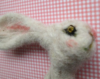 Felted Hare / Rabbit brooch on greetings card handmade ooak cranachan badge