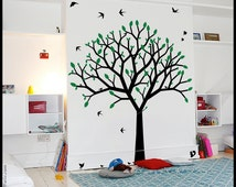 TREE WALL DECAL : Spring Tree wall decor kids nursery. Straight branches, stylized birds and squirrels