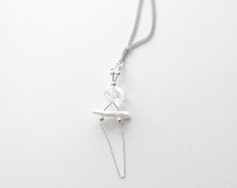 Faceted Quartz and Mother of Pearl Necklace