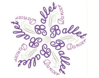 Beautiful Ballet Word Flower Machine Embroidery Design