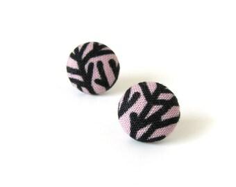 Light violet stud earrings - purple button earrings - pastel goth fabric earrings black
