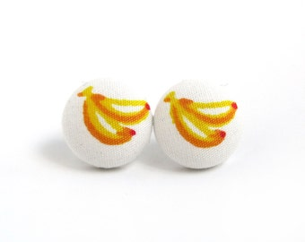 Banana button earrings - banana fabric earrings -  stud earrings kawaii cute white yellow orange
