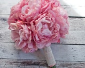Blush Pink Peony Bouquet with Pearl Handle - Peony Wedding Bouquet