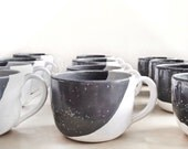 Coffee cup mug - oversized cappuccino large mug ceramic in grey and white latte large