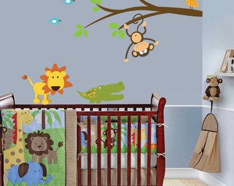 Jungle Wall Decals, Nursery Jungle Stickers, Jungle Animal Decals for Children