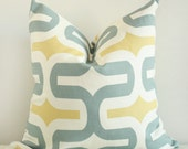 Golden Yellow and Blue Modern Design Pillow Cover