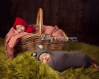 Crochet Newborn Baby Photo Props for Twins - Little Red Riding Hood and Big Bad Wolf Twin Set