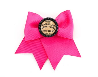 Pink Oujia Board Bottle Cap Button Traditional Bow Hair Clip