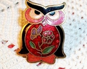 Vintage CLOISONNE BROOCH, Charming OWL Pin, Gorgeous Colors On Original Card, New/Old Stock!