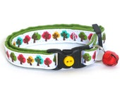 Fall Cat Collar - Colorful Trees - Small Cat/ Kitten Size or Large Size Collar