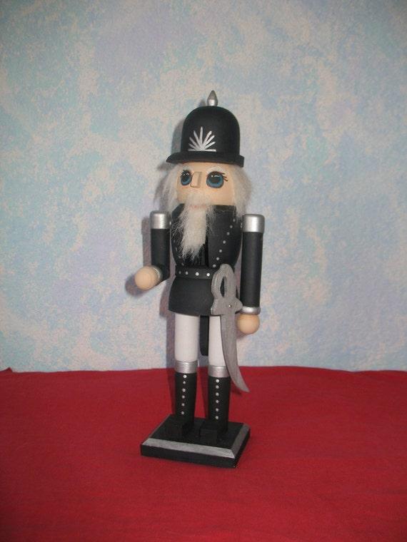 Handpainted Wooden Nutcracker Policeman, Black 12 inches