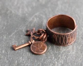 Copper Charm Ring