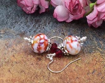 Orange Earrings, Red Earrings,White Earrings, Beadwork Earrings,  Lampwork Earrings, Glass Earrings, Glass Bead Earrings, Boro Earrings
