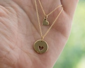 Mother Daughter Matching Necklace Set - Kids & Baby Jewelry . Bronze Heart Charms on 14K Gold-Filled Chain . Gift Idea for Mom, Mother, Girl