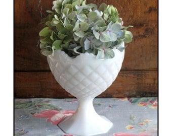 Vintage Milk Glass Centerpiece / Milk Glass Planter/Wedding Centerpiece