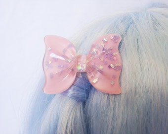 Pretty Pastel Pink Bow with Purple AB Galaxy Stars Hair Clippie
