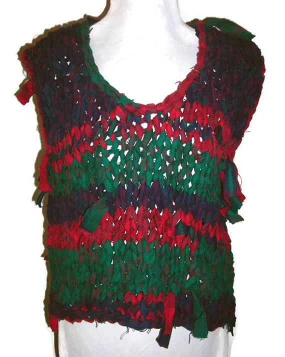 "Hand Knit Sweater Vest; Upcycled Knitted Rag Red, Blue, and Green Sweater; Unisex Bust/Chest 34"" (86cm), Free US Shipping"