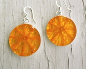 Real Orange Earrings - Fruit Jewelry - Vegan Jewelry