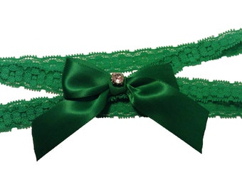 Grass Green Double Band Stretch Lace Wedding Garter with Sparkling Crystal