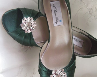 Wedding Shoes Hunter Green Bridal Shoes Crystal Flower Swirl -100 Additional Colors To Pick From