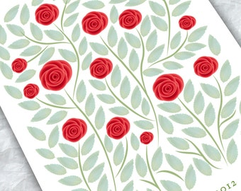 Wedding Guest book alternative - Red Roses