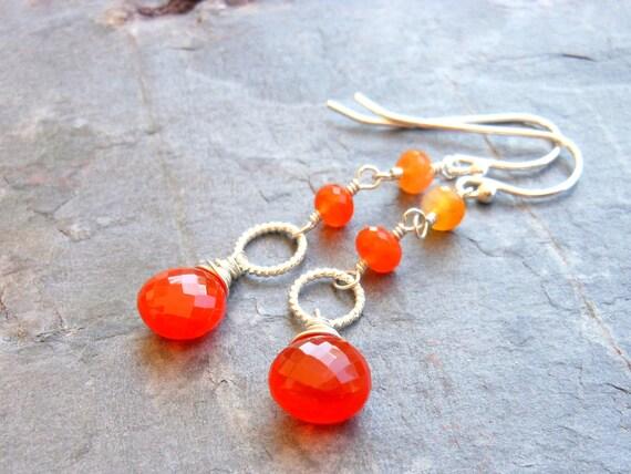 Carnelian Earrings, Sterling Silver, Orange faceted gemstone earrings, dangle earrings