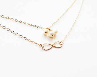 Freshwater Pearl and Gold Infinity Necklace 14 Karat Gold Filled 2 Strand Simple Hammered Textured Infinity Necklace