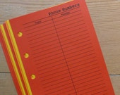 Phone numbers inserts - Fits Filofax or Organiser - reds, yellows and oranges - personal/pocket/mini