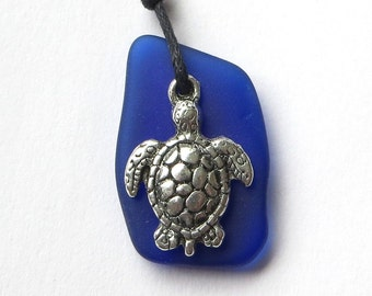 Cobalt Blue Sea Glass Turle Necklace by WaveofLife