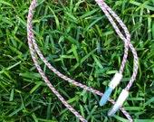 Tanzan and Aqua Aura Quartz kumihimo necklace