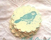 Stamped BLUE BIRD Embellishments - Pocket letters, Vintage Inspired - Aqua, Cream, Scalloped Circle 8
