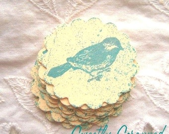 Stamped BLUE BIRD Embellishments - Pocket letters, Vintage Inspired - Aqua, Cream, Scalloped Circle 8
