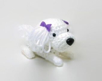 Maltese Amigurumi Dog Crochet Dog Stuffed Animal Doll / Made to Order