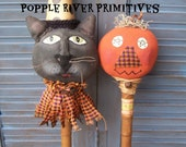Primitive Halloween Pokes, Cat and Pumpkin Halloween Pokes, Made To Order