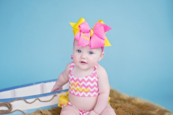 Chevron Pink Yellow Ruffled Halter Swimsuit Bikini Personalized Monogrammed - Baby Toddler Youth vonBoutiqueBows
