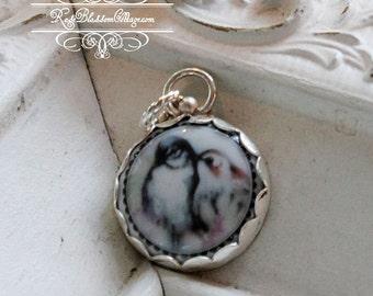 Love Birds Sterling Edgeless lovebirds Porcelain Sterling Pendant Charm
