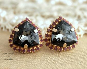 Black Earrings,Black Swarovski Earrings,Swarovski Crystal Earrings,Gift for her,Christmas gift,Swarovski Black Earrings,Crystal Earrings