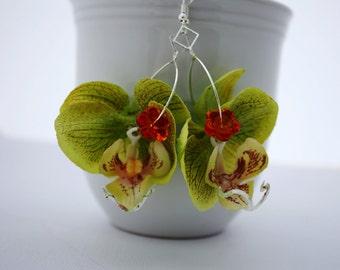 Green Orchid Flower Earrings, Floral Earrings Flower Jewelry, Statement Earrings, Tropical Flower, Green Earrings Hawaiian Flower Hawaii 099