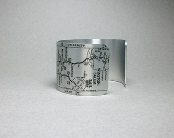 Cuff Bracelet Winston Salem to Asheville North Carolina Vintage Road Map Highway Unique Gift for Men or Women
